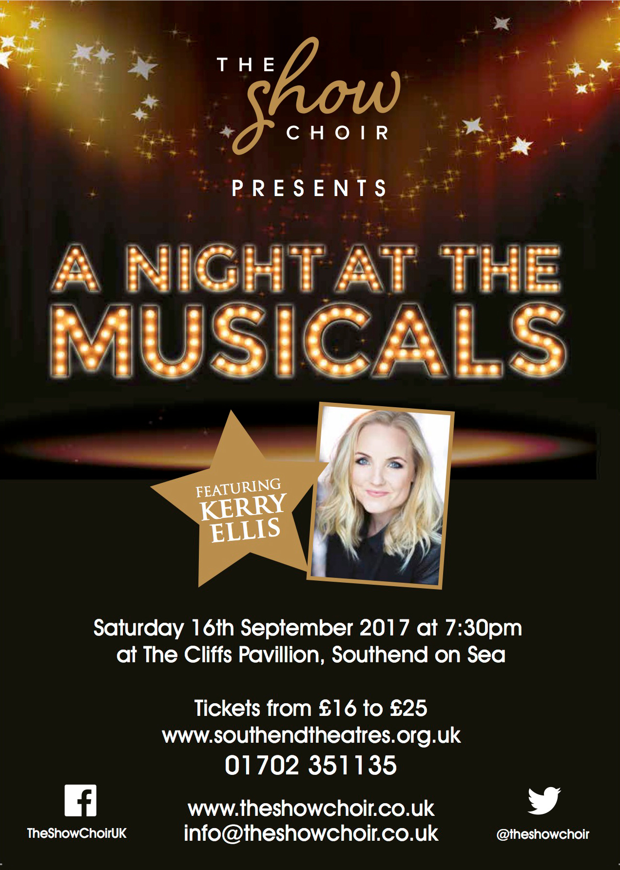 """Book your tickets now for """"A Night At The Musicals featuring Westend leading lady Kerry Ellis"""" Call the box office on 01702 315135"""